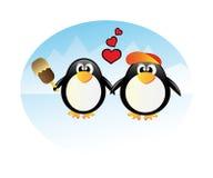 Pingüinos del vector en amor