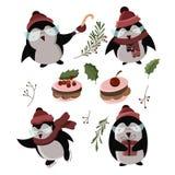 Pingüinos divertidos de la historieta linda en vector stock de ilustración