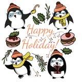 Pingüinos divertidos de la historieta linda en vector ilustración del vector