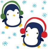 Pingüinos divertidos de la Navidad Fotografía de archivo libre de regalías