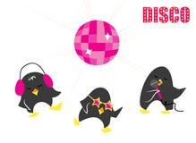 Pingüinos divertidos del disco del vector de la historieta libre illustration