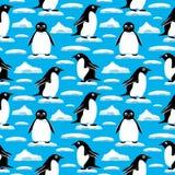 Pingüinos en masas de hielo flotante de hielo stock de ilustración