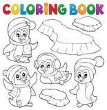 Pingüinos felices del invierno del libro de colorear libre illustration