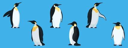 Pingüinos planos en una colección azul del fondo ilustración del vector