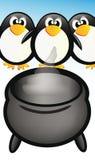 Pingüinos y crisol stock de ilustración