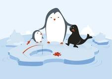 Pingüinos y sello ilustración del vector