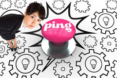 Ping against pink push button Stock Photography