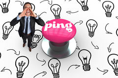 Ping against pink push button Stock Photos