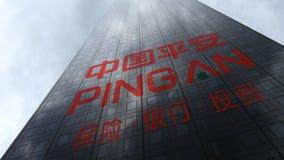 Ping An logo på reflekterande moln för en skyskrapafasad Redaktörs- tolkning 3D Arkivbild
