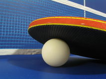 Ping Pong. A ping Pong paddle sits on a pin pong ball  beside the net of a ping pong table Stock Photography