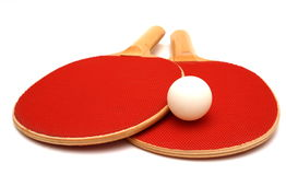Ping Pong. Red wooden Ping Pong Paddes and ball isolation stock images