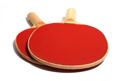Ping Pong. Red wooden Ping Pong Paddles isolation royalty free stock photos