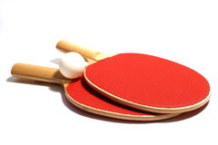 Ping Pong. Red wooden Ping Pong Paddes and ball isolation stock image