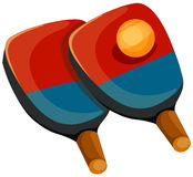 Ping pong. Illustration of isolated cartoon ping pong paddles with ball stock illustration