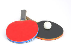 Ping pong. Paddles for table tennis and a ball Stock Photo