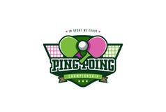 Ping Pong Badge Logo Design De Identiteitsetiket van de grafieksport Stock Foto