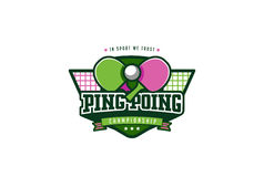 Ping Pong Badge Logo Design. Graphics Sport Identity Label Stock Photo