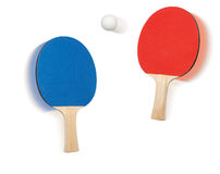 Ping pong ball, blue racket, red racket, sport Stock Image