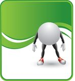 Ping pong ball character. Ping pong ball with arms and legs on green wave background Royalty Free Stock Images