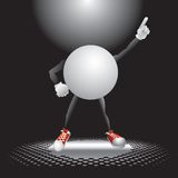 Ping pong ball character under the spotlight. Ping pong ball cartoon character on the dance floor under the spotlight striking a pose royalty free illustration