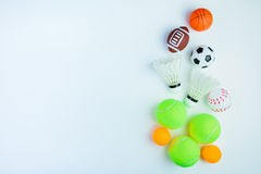 Ping pong ball, Football toy, Baseball toy, Shuttlecock,Tennis b Stock Images