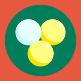 Ping pong ball icon. White and yellow ping pong ball on a green and red background. Sports Equipment. Vector Royalty Free Stock Image