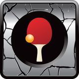 Ping pong ball and paddle on cracked web icon Royalty Free Stock Photo