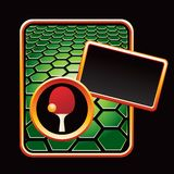 Ping pong ball and paddle on green hexagon ad Royalty Free Stock Photography