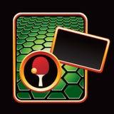 Ping pong ball and paddle on green hexagon ad. Green hexagon advertisement with a ping pong paddle and ball vector illustration