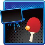 Ping pong ball and paddle on halftone ad. Ping pong ball and paddle on blue and black halftone advertisement Royalty Free Stock Photo