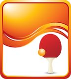 Ping pong ball and paddle on orange wave ad. Orange wave banner template with a ping pong paddle and ball Stock Image