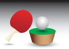 Ping pong ball and paddle on table patch. Of green Royalty Free Stock Image