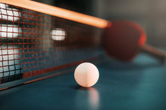 Ping pong ball on the table, selective focus Royalty Free Stock Image