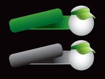 Ping pong balls with visor on tilted banners. Green and gray banners with ping pong balls with green visors royalty free illustration