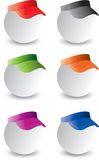 Ping pong balls with visors. Ping pong balls with multiple colored visors Stock Images