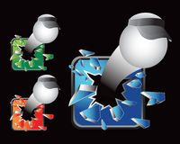 Ping pong balls with visors bursting out of glass. Ping pong balls with visors breaking through multicolored glass Stock Photos