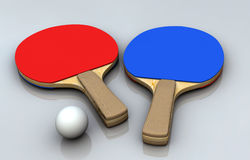 Ping Pong Bats. Red and blue, and a ball Stock Photography