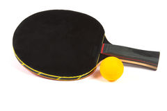 Ping pong black racket with yellow ball Royalty Free Stock Images