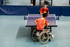 Ping-pong degli uomini della presidenza di rotella Fotografia Stock Libera da Diritti
