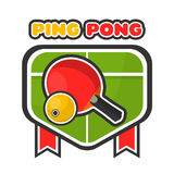 Ping pong game colorful logotype with table and racket. Ping pong game colorful logo label isolated on white with green table and red racket with yellow small Royalty Free Stock Image