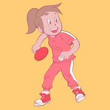 Ping pong girl. Illustration of a girl playing ping pong vector illustration