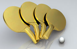 Ping Pong Gold Bats Royalty Free Stock Photography