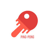 Ping pong icon with melted tennis racket. Concept of sport school emblem, winner, olympic team, sporting goods store mark or badge, flying ball. flat style Stock Images