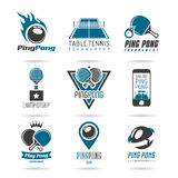 Ping pong icon set - 3 Royalty Free Stock Photo
