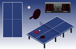 Ping Pong isometric playground table, ball, rackets, and scoreboard. Ping Pong playground top view. Isolated. In vector Stock Photos