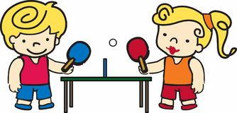 Ping Pong Kids Stock Photography