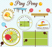 Ping Pong Lables Set. Vector Illustration. Icons and lables Ping Pong set Stock Image