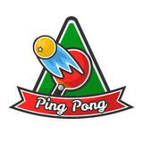 Ping pong logotype with red racket and yellow ball. Ping pong logotype with red racket, yellow ball with small star that ricochets and flies fast, green triangle Stock Image