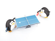 Ping-Pong Match. Fat ping pong players penguin  - 3D render Stock Photography