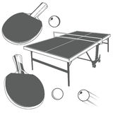 Ping pong monochrome design elements Stock Photography